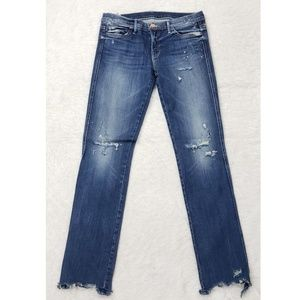 NEW Mother The Rascal Ripped Hem Skinny Jeans